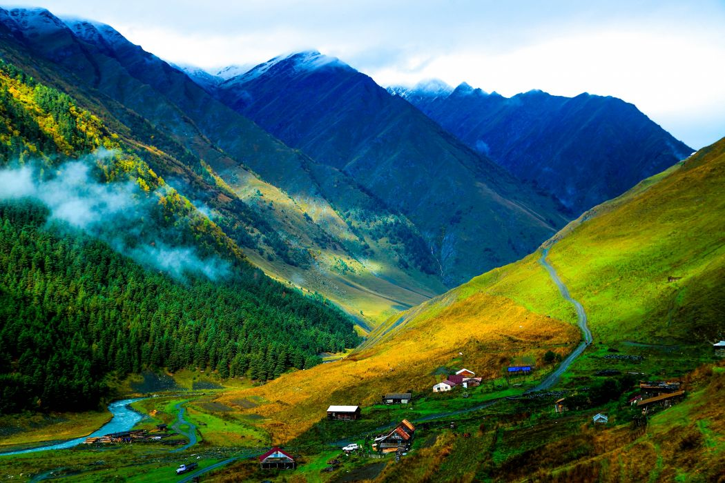 mountains valley road village view color beautiful wallpaper