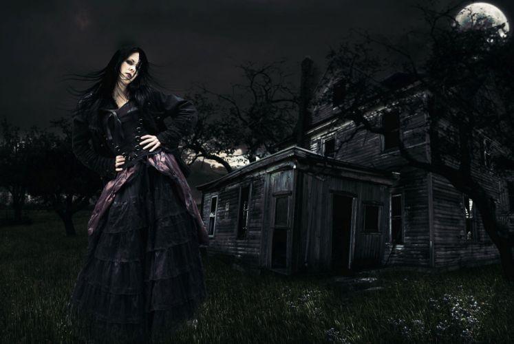 night moon beautiful witch dark fantasy gothic wallpaper