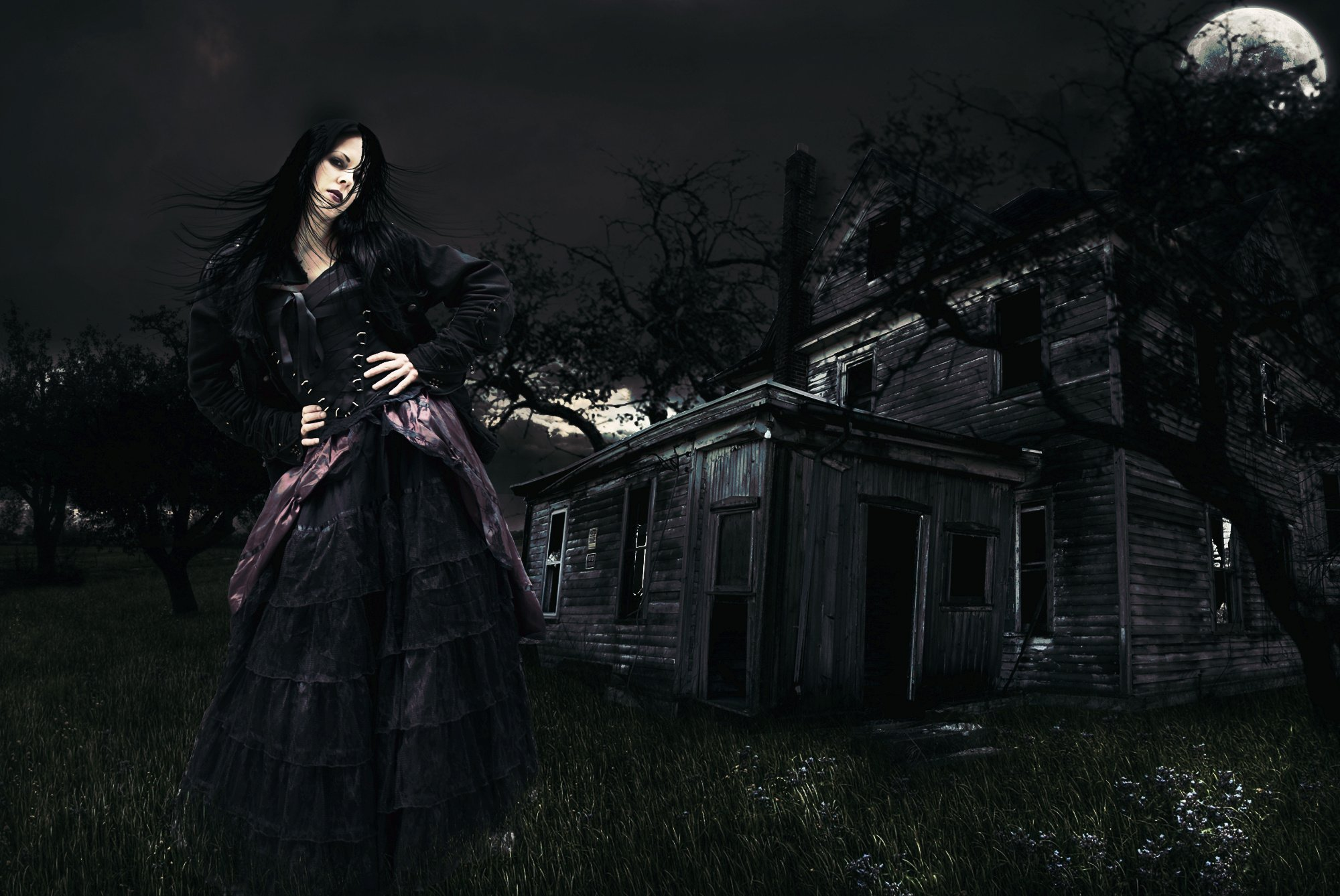 Beautiful Gothic Wallpapers: Night Moon Beautiful Witch Dark Fantasy Gothic Wallpaper
