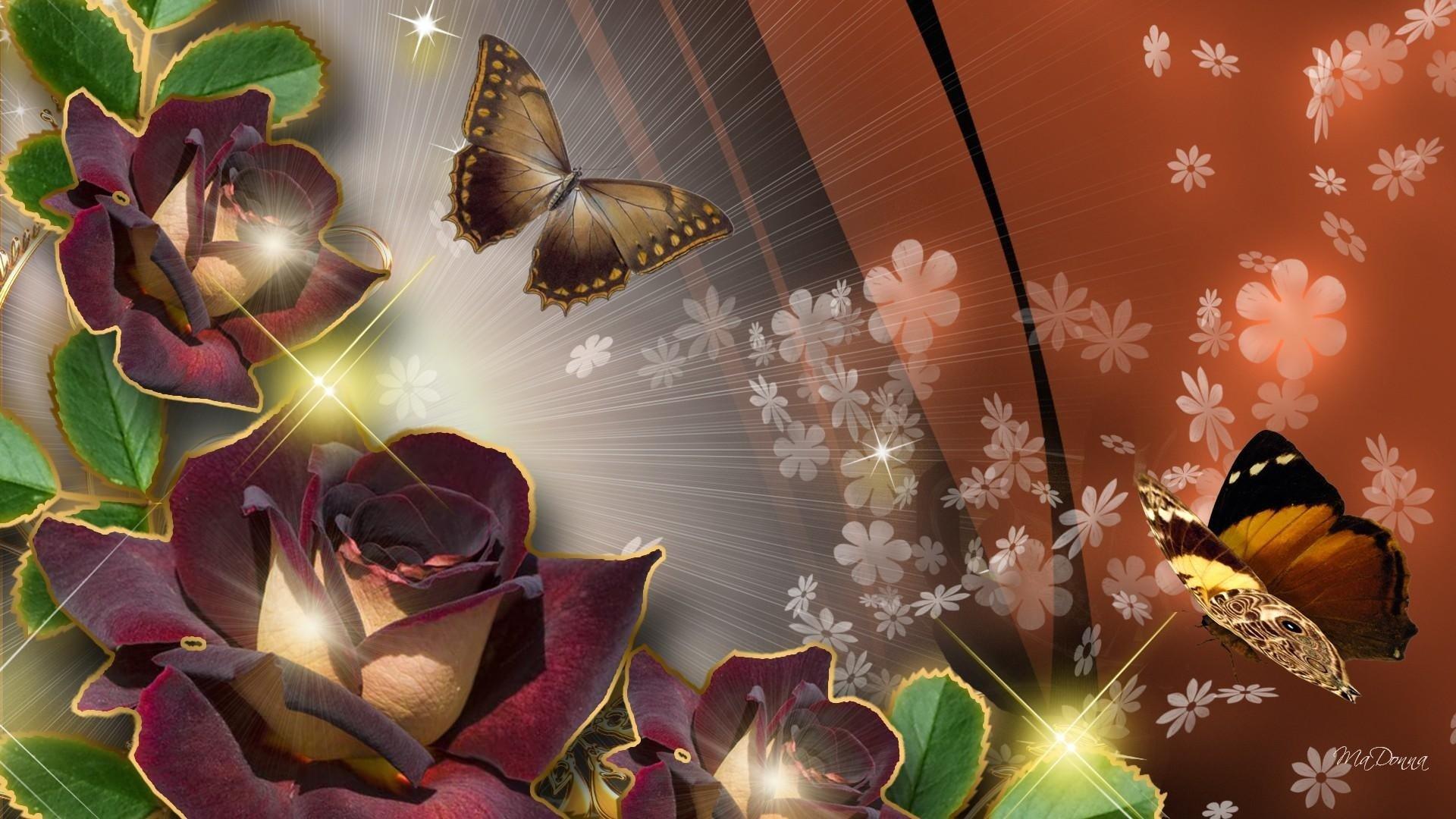 Бабочки подлетающие к цветкам  № 2991708 без смс
