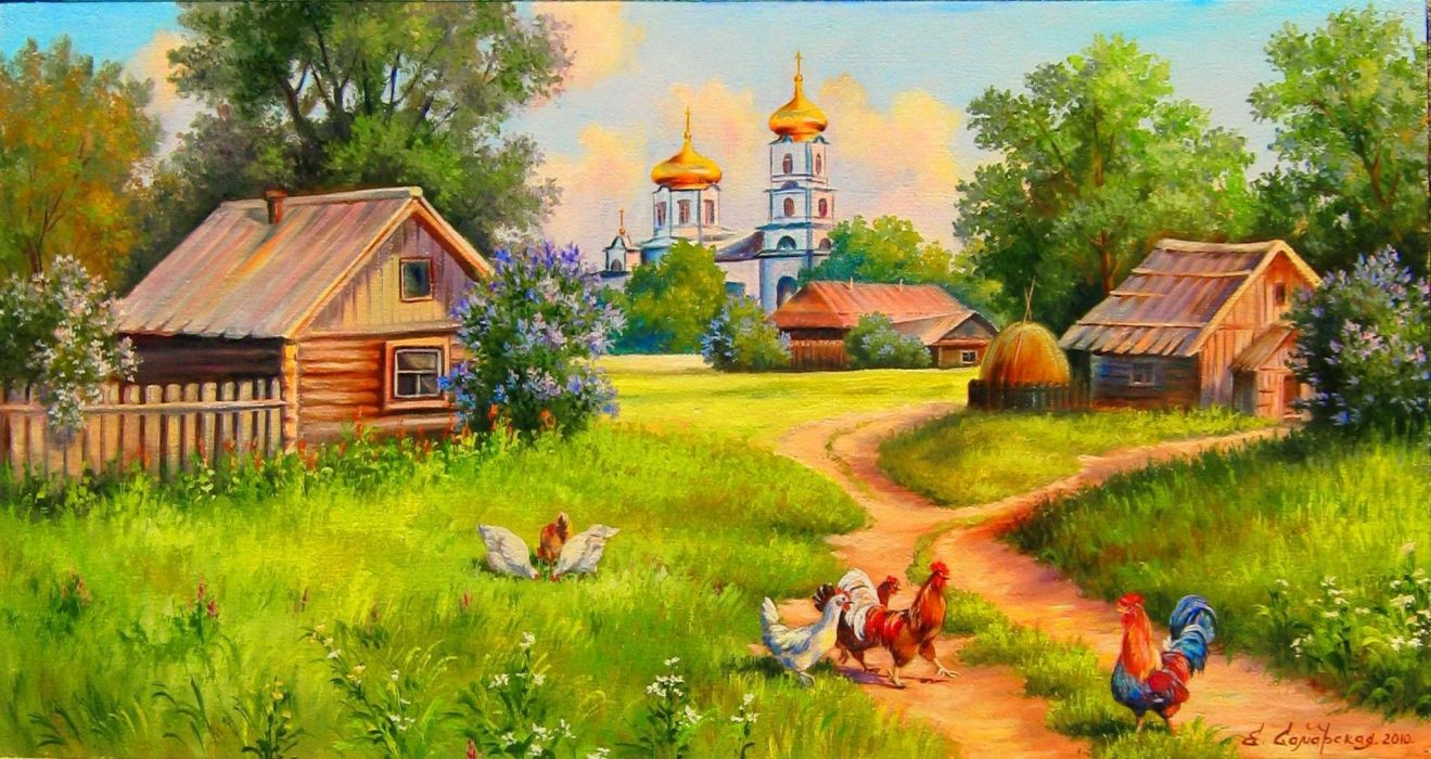 village of Kura home church methods flowers trees farm artwork rustic painting wallpaper
