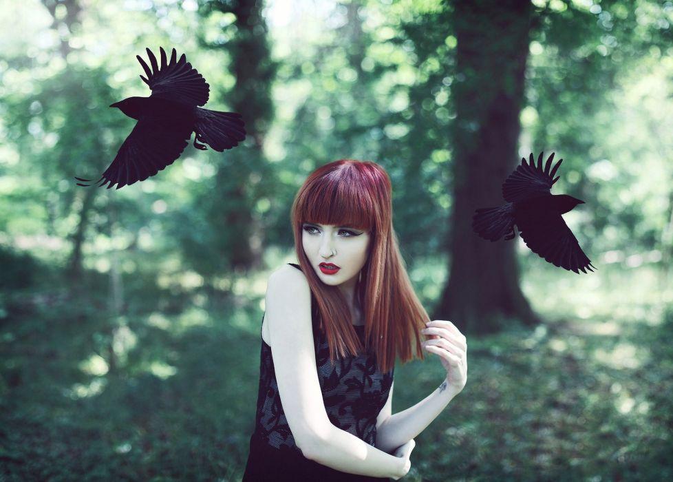 witch girl gothic bird crow raven dark mood wallpaper