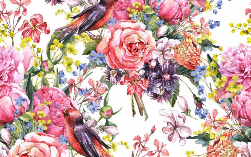 painting watercolor flowers birds wallpaper