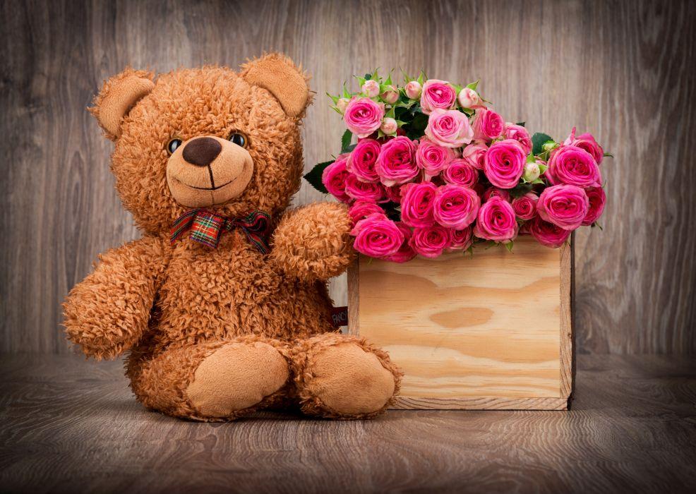 roses basket bouquet teddy bear love mood wallpaper