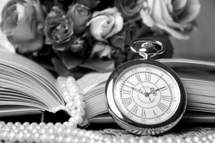 watch book beads pearls flowers roses vintage bokeh mood time clock wallpaper