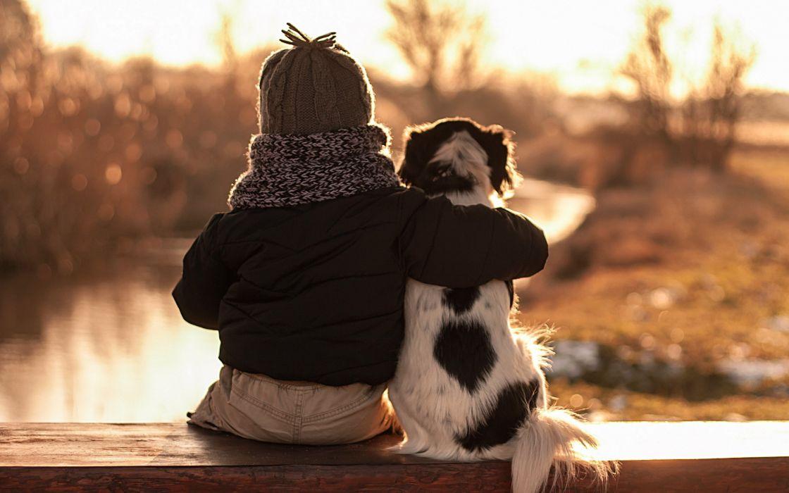 child dog friends hug mood wallpaper