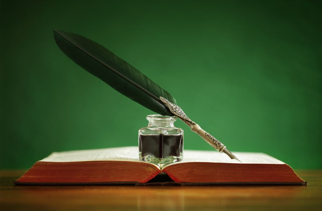 book pen ink bokeh feather still life wallpaper