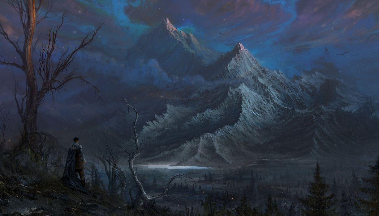 Forest Knight mountain tree warrior artwork wallpaper