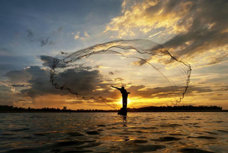 morning sunrise sun river lake boat fisherman net fishing mood wallpaper