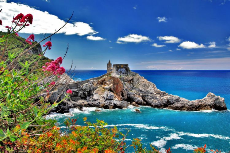 cinque terre tower italy sky clouds nature sea rocks italy house town flowers wallpaper
