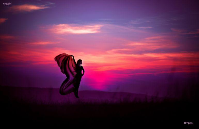 Field Sunset Dawn woman floating levitation mood girl wallpaper