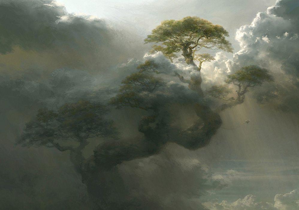 Giant tree mountain art cloud artwork fantasy clouds xky wallpaper
