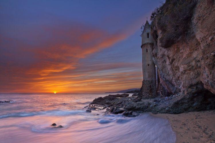 Victoria beach California USA California USA tower sunset evening sky sun sea beach rocky cape landscape beautiful nature wallpaper