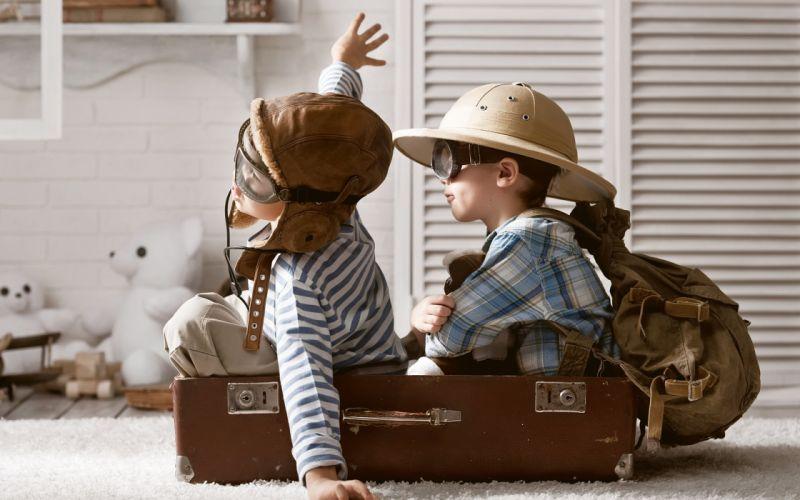 boys playing children pilots suitcase mood fun aircraft airplane wallpaper