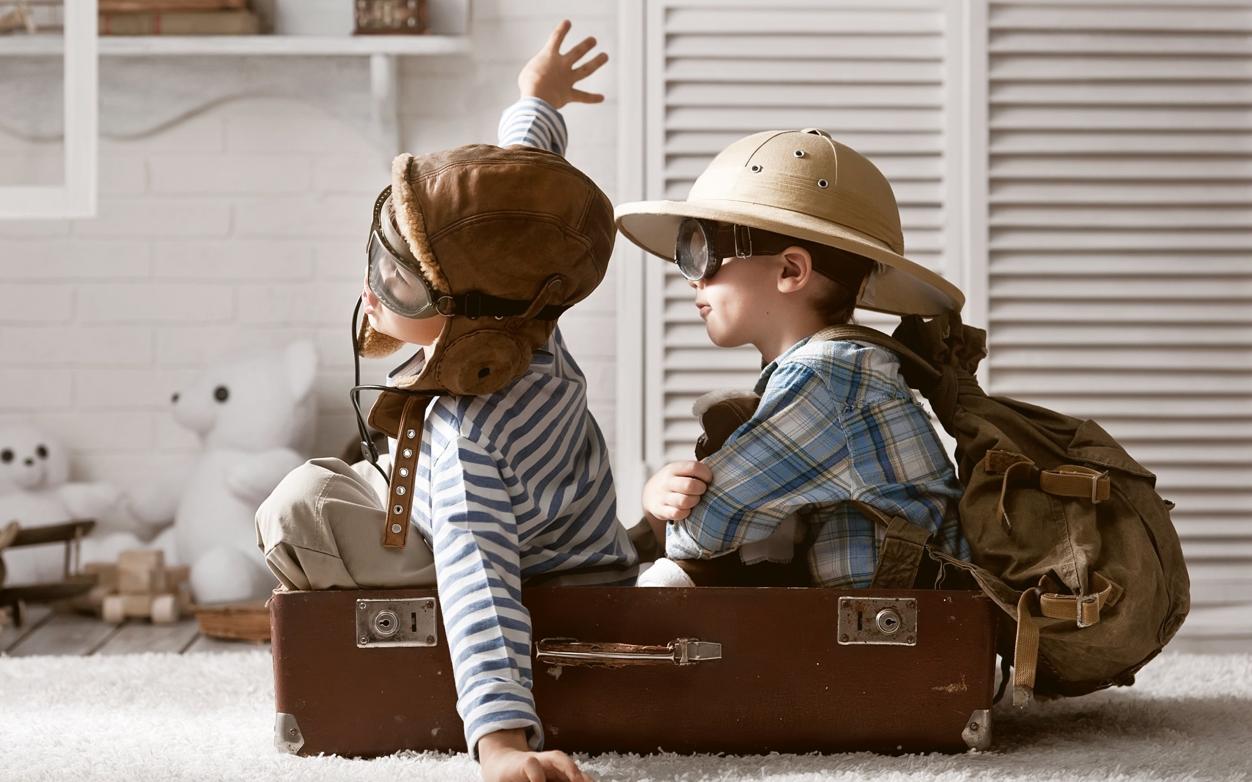 Boys Playing Children Pilots Suitcase Mood Fun Aircraft