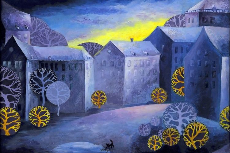 landscape picture style art artwork painting house psychedelic wallpaper