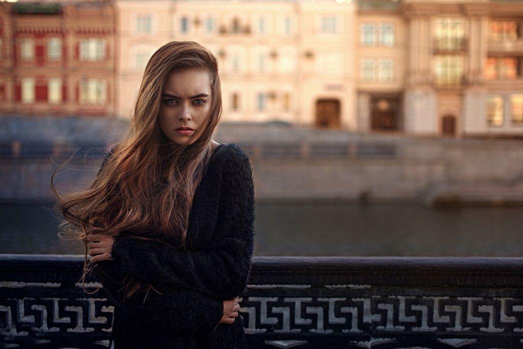 hair wind cold girl city mood sad sorrow wallpaper