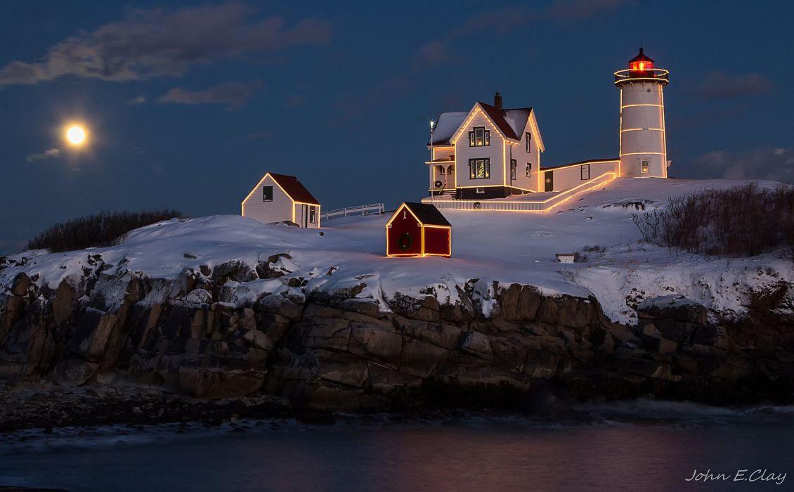 Landscape night lighthouse house light lights moon sea cliff christmas wallpaper