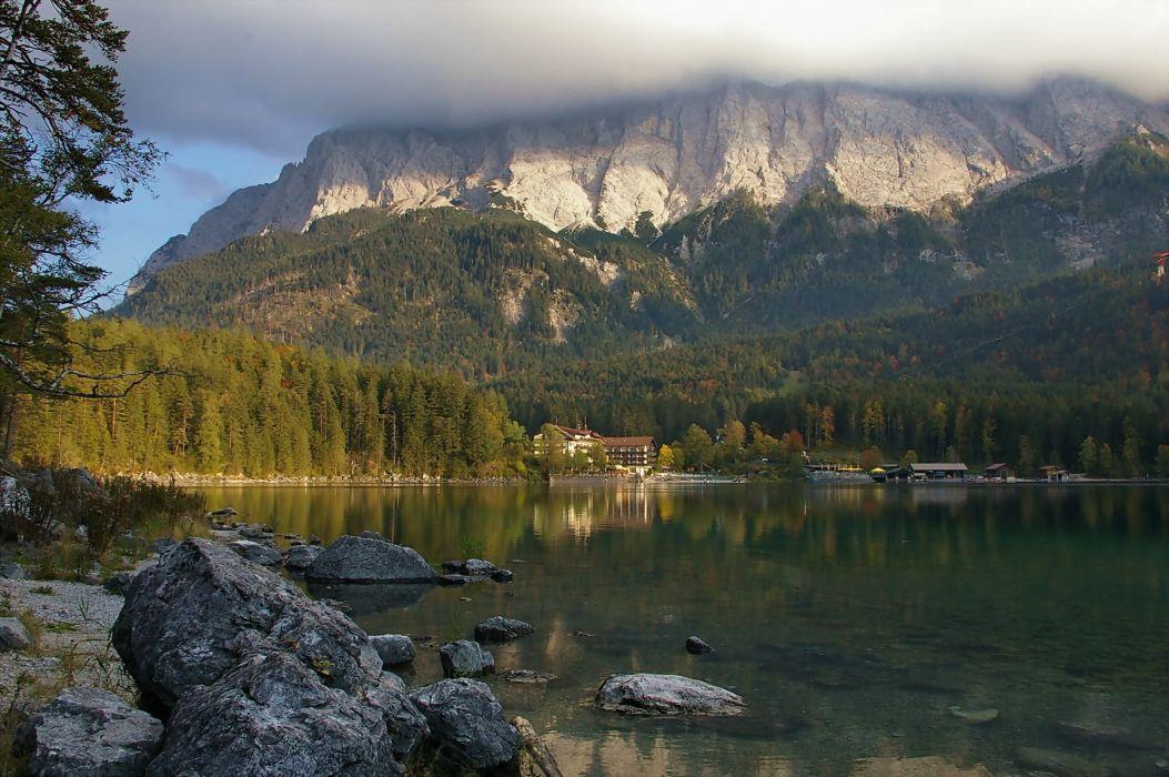 Alps Mountains Lake View Beautiful Cloud Mountain Wallpaper