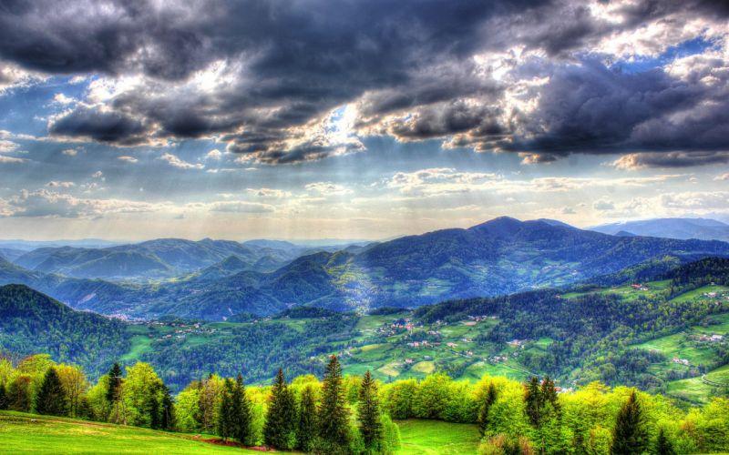 Landscape Mountain Forest Sky Slovenia Spruce Clouds wallpaper