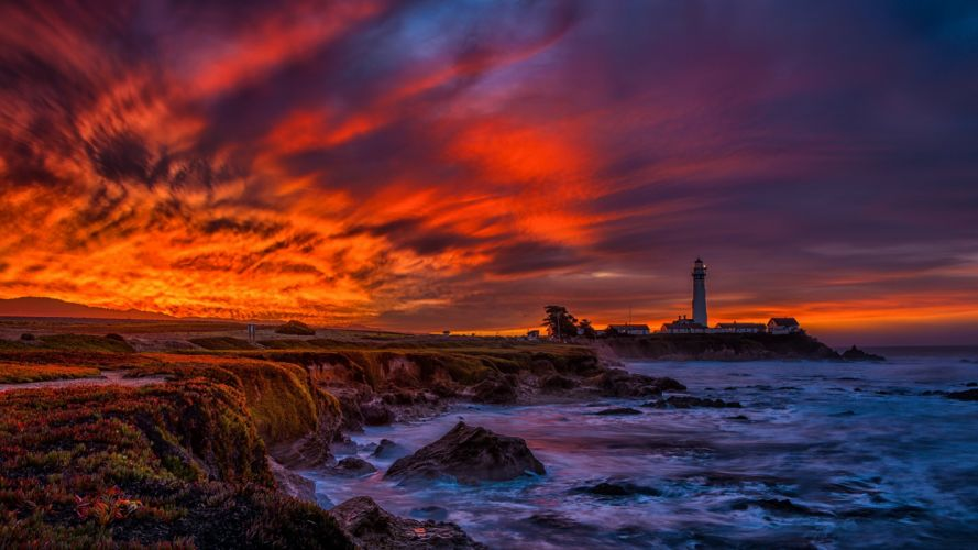 Sky Coast Lighthouse Sea Clouds HDR Nature wallpaper