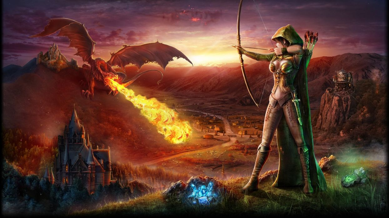 Bow Archer Dragon Castle Mountain Arrows Fire Wallpaper