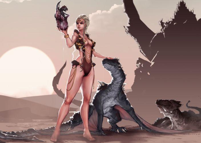 Game of Thrones Song of Ice and fire Daenerys Targaryen girl queen body legs dragons egg drawing fantasy desert egg birth art wallpaper