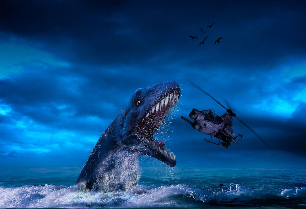 marine dinosaur helicopter fantasy wallpaper