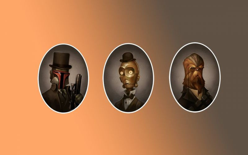 Star Wars C3PO Boba Fett Chewbacca steampunk victorian portrait film movie wallpaper