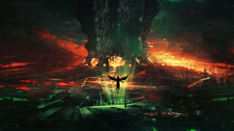 Fantastic world Fantasy angel demon artwork wallpaper