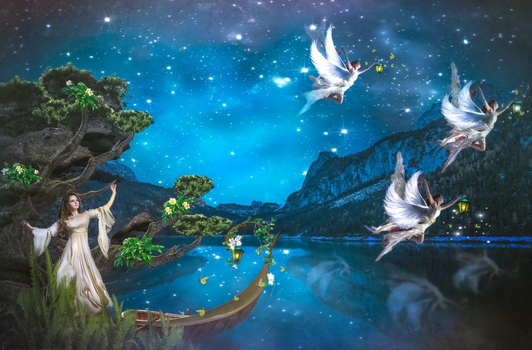 angels night fairy angel wallpaper