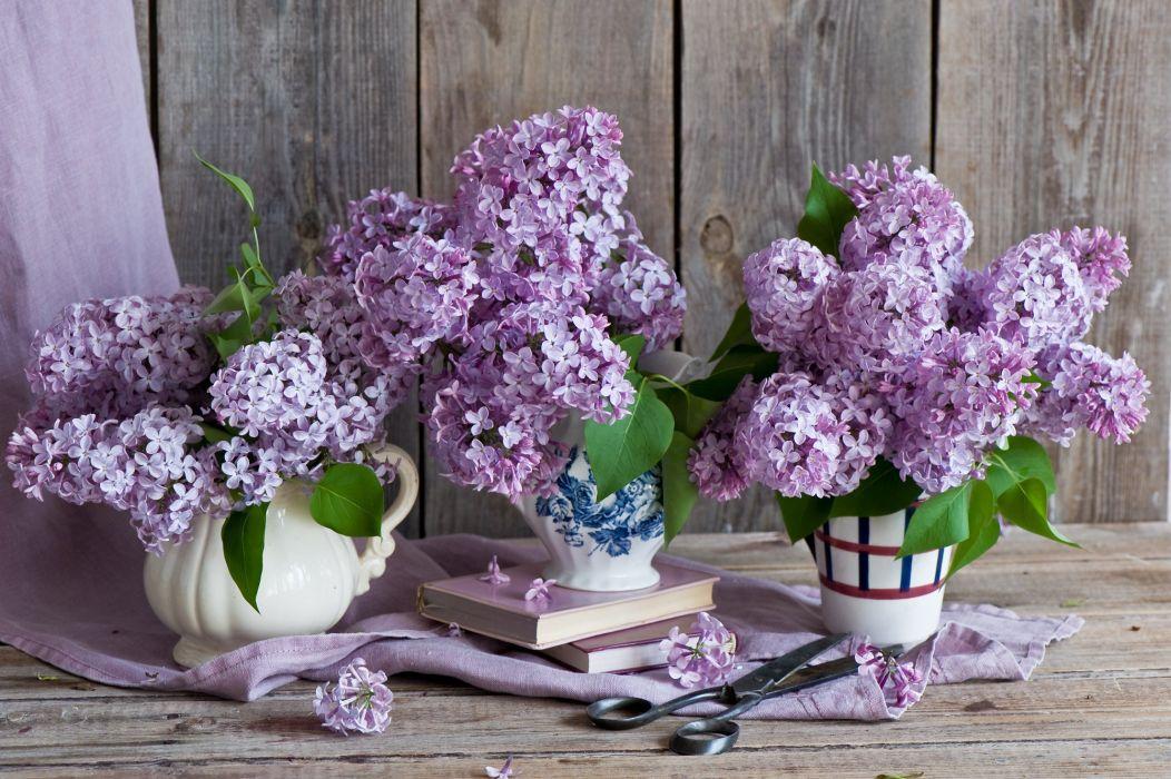 lilac bouquets books scissors wallpaper