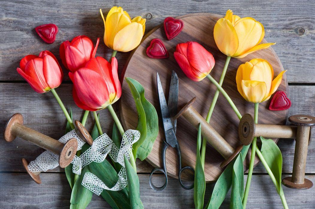 tulips scissors spools ribbons hearts wallpaper