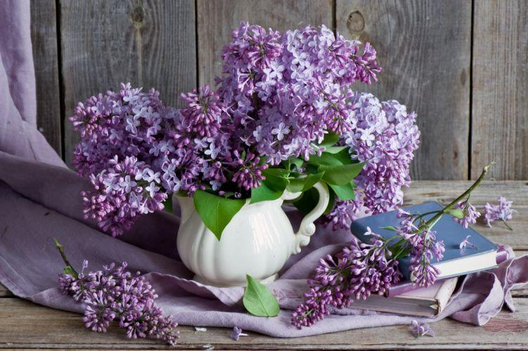 lilac bouquet branch book still life wallpaper