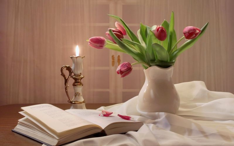 tulips buds flower pitcher book candle petals still life wallpaper