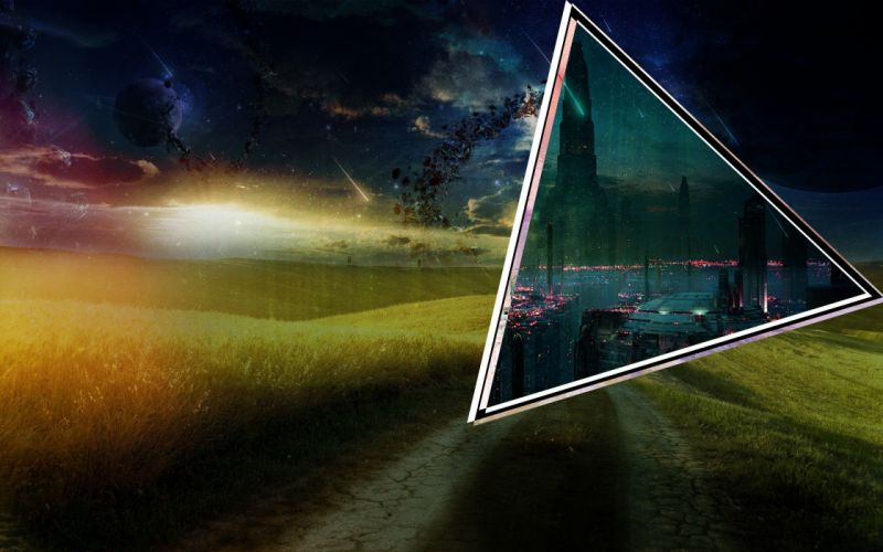cyber city planets field space portal wallpaper