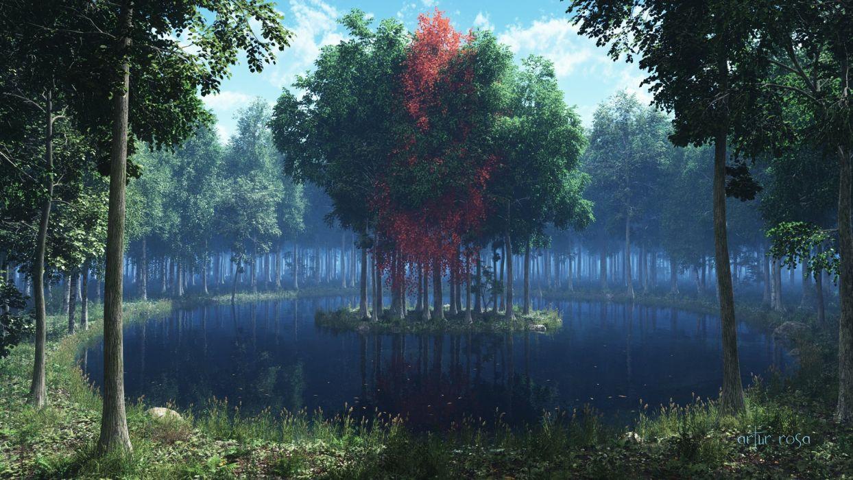 render island lake forest grass leaves trees wallpaper