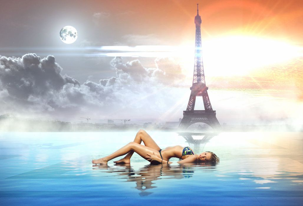 Paris Eiffel tower sunset girl sexy babe bikini wallpaper