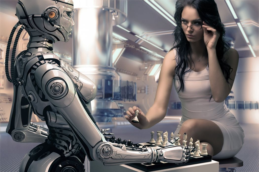 robot girl chess rendering wallpaper