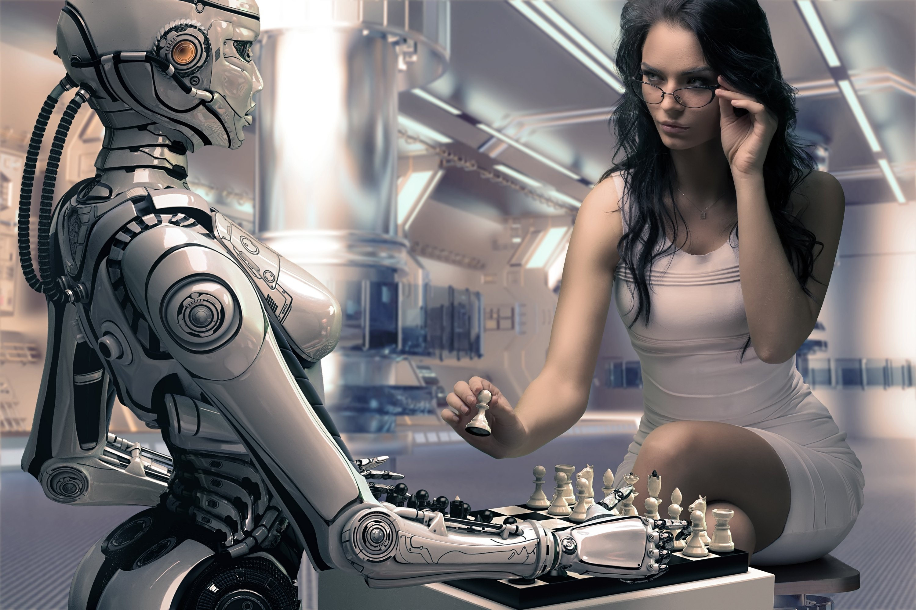 robot girl chess rendering wallpaper | 3000x2000 | 849277 | wallpaperup