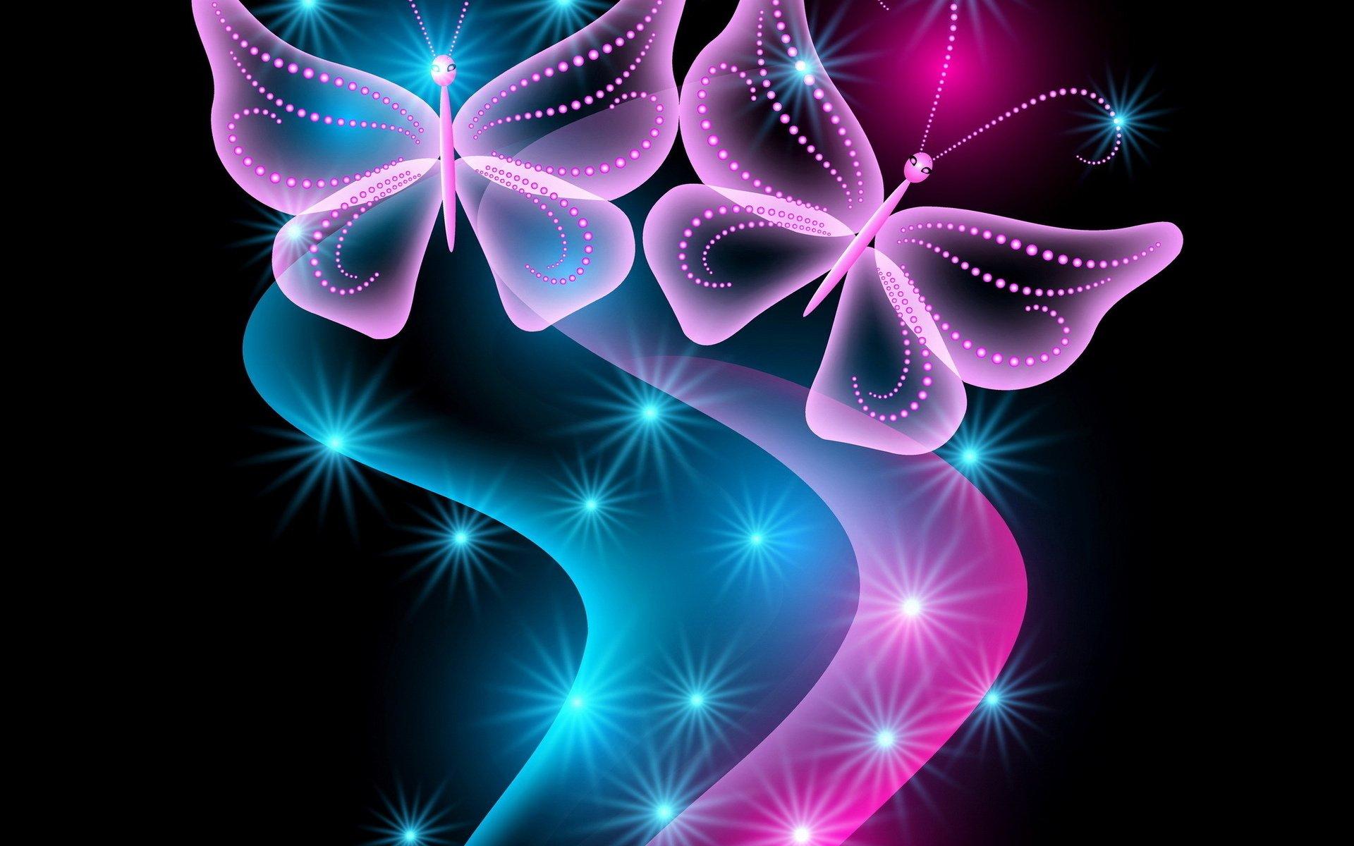 3d neon abstract neon blue glow sparkle pink butterflies ...