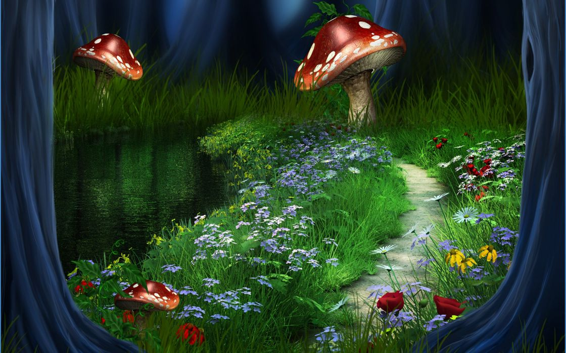 3d river forest landscape nature path flowers wallpaper