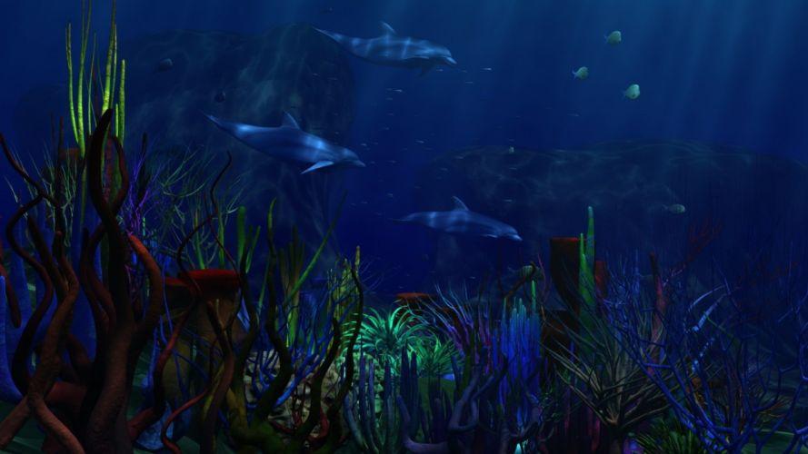 underwater world Dolphin wallpaper