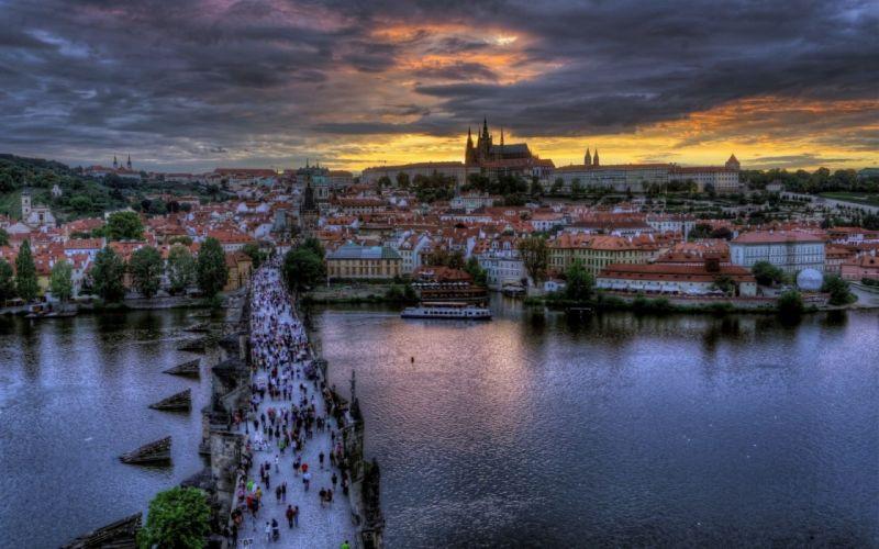 Czech Republic Prague Charles Bridge in Prague city buildings crowd the river sunset wallpaper
