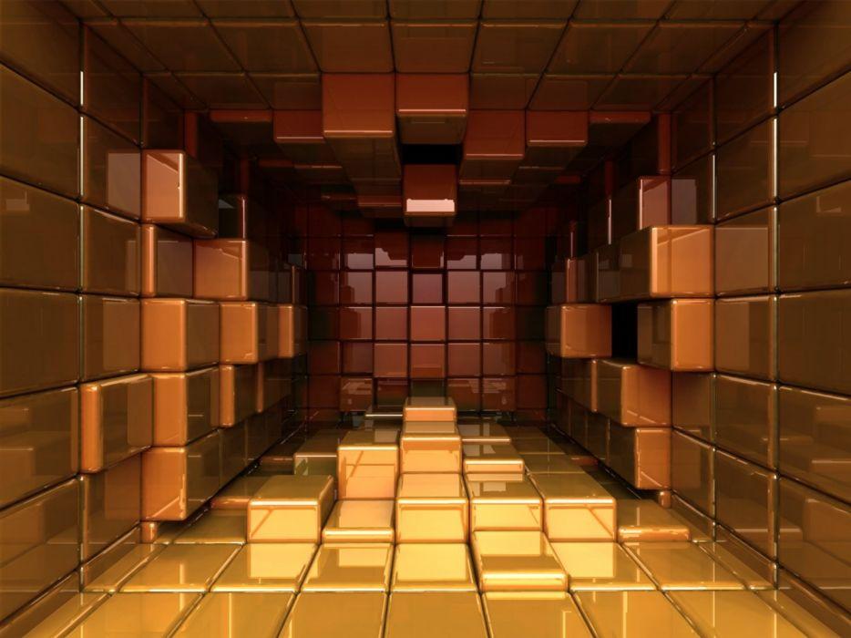 3D Hall cubes wallpaper