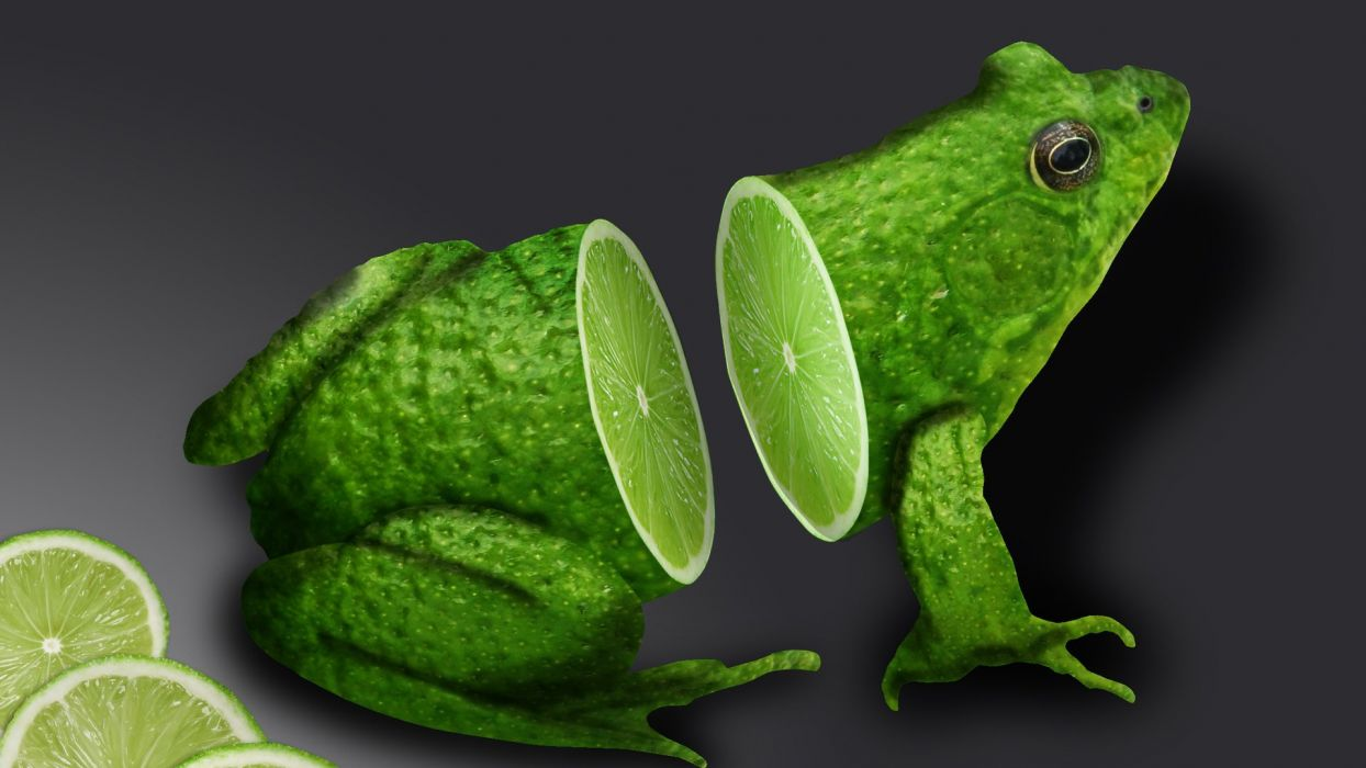 abstraction abstract 3D graphics frog fruit lime wallpaper