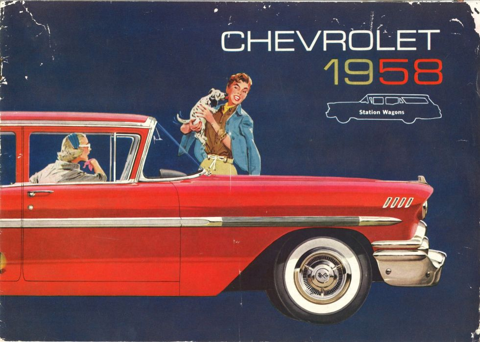 1958 Chevrolet StationWagon retro poster wallpaper