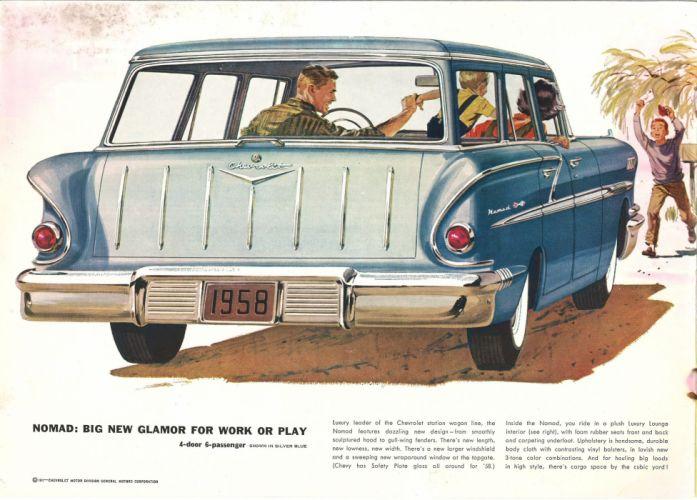 1958 Chevrolet StationWagon retro poster wallpaper