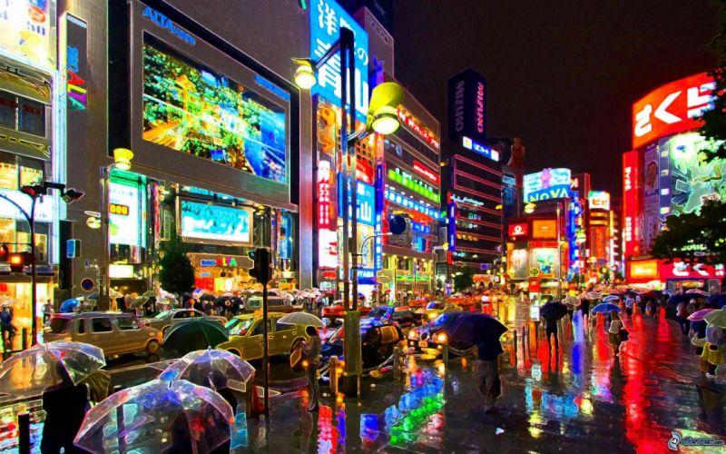 tokio japon asia noche luces edificios wallpaper