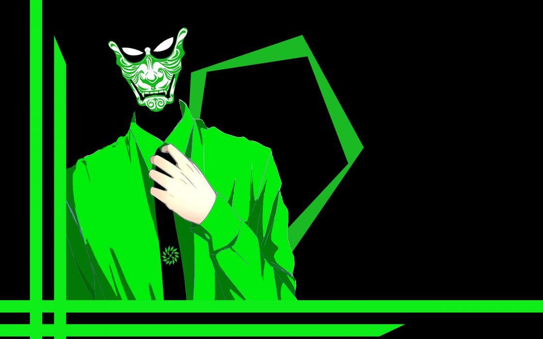 dark green pentagon samurai freak eyes  wallpaper
